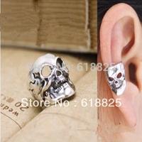 #006 New Punk Style Vintage Skeleton Head Skull Ear Cuff Clip Earrings Jewelry Wholesale 24pcs/lot