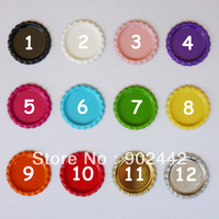 Free Shipping 3500 pcs/lot  Two-side Flat Colored Bottle Caps for Jewelry Accessories Without Hole, 12 Colors can be Chosen