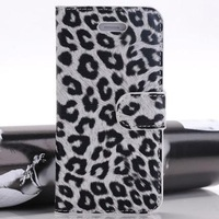 Case for iPhone 5/5s Leopard Skin PU Leather Case Wallet Pouch in 6 colors With Card Holder Pocket