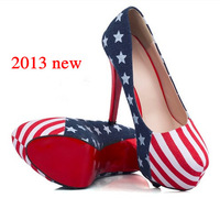 2013 latest sexy blue thick soles red soled high heels the flag high heels denim shoes for women platform heels red bottoms 1128
