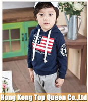Free shipping,Warm style children Long sleeve children set,hoodies+pants,90-130(5 sizes avaliable),The United States flag style
