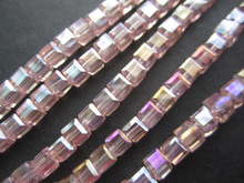 4mm Crystal Beads Faceted Square shape Cube Loose beads in jewelry making multi color Free Shipping