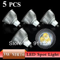 5PCS 3W 5W MR16 LED Bulb Spot light lamp Cool White/Warm white light bulb Energy saving DC 12V ,free shipping