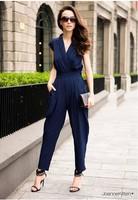 Discount Fashion 2013 Women Jumpsuit Romper Overalls Sexy for the Women plus size Bodysuits Black /Red /Blue Color Harem Pants