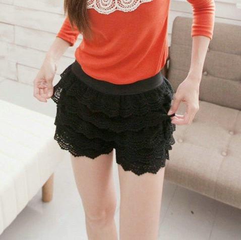 IMIXBOX Korean sweet style lace shorts, cascading lace ruffles short pant, vintage free shipping W3006(China (Mainland))