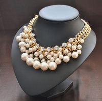 Fashion Luxury Pearl Necklace Crystal Gold Chain Statement Choker Collar Bib Wedding Bridal Multilayer Designer Women wholesale