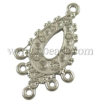 Closeout Alloy Rhinestone Connector Settings,  Lead Free and Cadmium Free,  Drop,  Platinum,  33x19x2mm,  Hole: 1.5mm