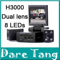 "Dual Camera Dvr Car,Car Cam 2.0""Tft Lcd Ir Night Vision Registrator Camera H3000 Video Recorder(H3000)"
