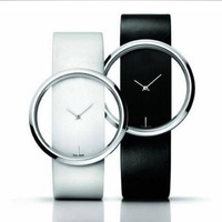 Wholesale New 2013  Fashion Men/Women Dress Quartz Watch With Leather Strap+Hollow Dial Design White/Black