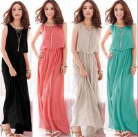 2014 NEW Summer sleeveless chiffon dress, big size S--XXXL beach dress,bohemian sex dress for women