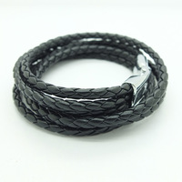 Classic Double Layers Alloy Buckle Woven PU Leather Woven Bracelet for Men and Women