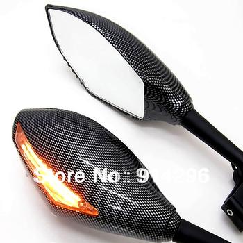 Free Shipping snake Universal fake Carbon fiber DOT Motorcycle Racing Mirrors  LED Turn Signals