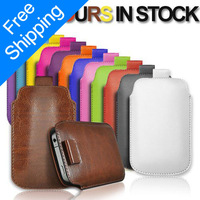 FREESHIPPING 1PCS PU LEATHER PULL TAB POUCH SKIN CASE FOR iPhone 5 4 4S 3 3G  X086