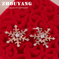 ZYE215 Snowflake Stud Earring  18K Rose Gold Plated Stud Earrings Jewelry Made with Genuine Austrian Crystal Wholesale