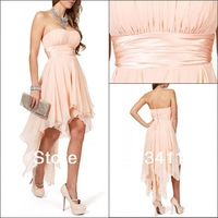 Free Shipping Real Pictures New Arrival Knee Length Chiffon Short Prom Dress 2013