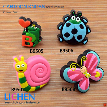 Chinese Factory LICHEN Free Shipping (12 pieces/lot) Furniture Drawer Cabinet Soft PVC Cartoon drawer knobs Handle