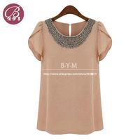 fashion blouses for women New 2014 summer women tops sweet beading slim all-match chiffon shirt female free shipping