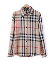 women blouse shirt Plus Size(S-XXL) Long-sleeve  Plaid Print  woman Brand fashion blouses/shirts/top ladies tops MRQ22033