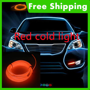 Red 5m/10ft Flexible EL Neon Glow Lighting Rope Strip+Charger for Car Decoration #J-3096