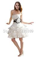 New 2015 White Short Wedding Dresses the Brides Sexy  Bridal Gown Plus Size Ivory Vestido de Noiva