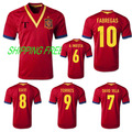 TOP A+++  FREE SHIPPING Player printing Grade ORIGINAL thailand quality soccer jersey football jersey 2013 Spain Home