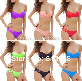 2014 Newest  Sexy Women Ladies Swimsuit TOP Push-up Padded Bikini Set Swimwear  8 Colors S/M/L
