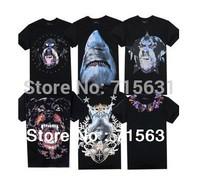 2014 Summer New Dsign Men's T-Shirt Short Sleeve Fashion Shirt Rottweiler Dog Shark Head Logo Tag Cotton Casual Tee S/M/L/XL