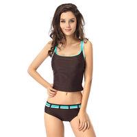 Ft034B 2 pieces Tankini sets Bra top insert Swimsuit Swimwear Black Brown EU 32 34 36 38 40 42 44 46 48