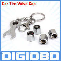 (5pcs/lot)Car Logo Wheel Tire Valve Caps 4pcs With Wrench Key Chain Car tire valve caps for NISM Car Accessories