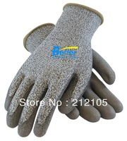 Free Shipping !! Economical HPPE Glove With Gray PU Dipped 3 Grade Cut Resistant HPPE Work Glove