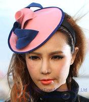 Free Shipping Women Pink Fascinator Handmade Wool Hair Fascinators Flower Girl Hair Accessories Fashion Elegant