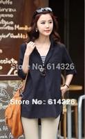 2014 Elegant Brand Blouse For Women Fold Sleeve Plus Size Shirt Women Loose Casual Clothing S-4XL