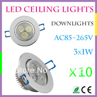 10 pcs/lot 3W LED Ceiling Down Light CREE LED 60Degree AC85-265V Silver & Rotatable External Driver Warm/Cool White