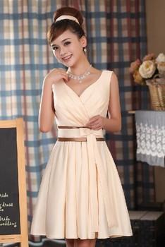 2015 новинка шампанское цвет v-образным вырезом женская короткие дизайн элегантный ну вечеринку вечер свадебные платья платье выпускного вечера