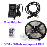 EMS Freeshipping Outdoor Lighting 5m 72W 300 x 5050 SMD Waterproof 12v rgb Led Strip Light With Power Supply and Remote Control