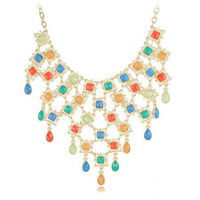 2014 New Arrival Multi Colors Resin Water Drop Jewelry Fashion Bib Collar Choker Necklace Free Shipping HeHuanXL123