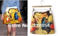 2013 summer fashion retro skirt Ladies fashion Printing oil painting Vintage Yellow short Mini Skirt A Line Skirt  S M L