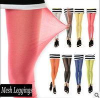 2014 Women Fashion Sheer Footless Tights SUMMER MESH Goth Punk Leggings,See Through Pants Stocking 15 Colors