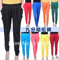 Free Shipping  Capris 2014 New candy color Pencil Pants Harem Leggings Women Loose Pocket Legging Pleated Casual Harem Pants