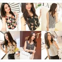 New 2014 Fashion Women Blouses Hot Selling Loose Animal/Flower Printed Chiffon Blouse Autumn-Summer Dot/Heart Sale Shirt