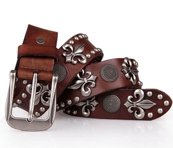 100% Genuine Leather New  Vintage Punk Men's Belt  Rivet Belts For Man motorcycle belt Hip hop Cowboy Jeans Straps Cinto TBT0060