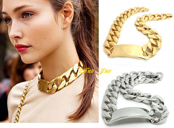 2013 Most Fashion Celebrity Designer Jewelry,Gold&Silver Figaro Chunky ID Necklace/bracelet For Women Punk/Rock/Hiphop,JP32612