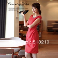 New Autumn Spring summer Fashion Women's OL elegant V-Neck Work Wear Slim Dress Plus Size XL Free Shipping