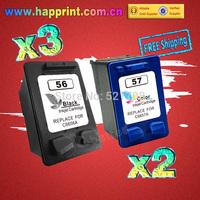 Refillable Ink Cartridge for hp 56 57 C6656A C6657A for Printer Deskjet 450 450cbi 450ci 450wbt F4140 5150 5550. (3BK+2C)