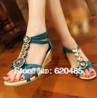 free shipping 2013 summer wedges women's shoes color block decoration rhinestone bohemia beaded package with sandals