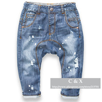 Children's Clothing Cotton Boy's Girl's Denim Harem Pants Baby Boys Girls Paint Hole Jeans Kids Big PP Harem Pants Denim Pants