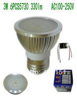 Free shipping Aluminum E27 3W 6pcs 5730 330lm Led Spot Bulb AC 100-250V