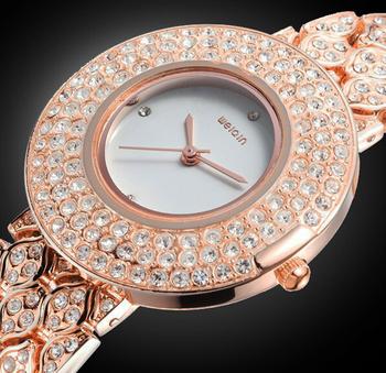 2014 Hot New Crystal Fashion Ladies Dress Watch WeiQin marca mercadorias atacado luxo Rhinestone diamante relógio feminino Relogio