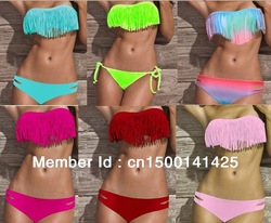 Free Shipping 2Pcs Set Hot Sexy Women/Girl's Padded Bikini Swimwear Swimsuit/Beachwear/Clubwear Tassels/Fringe S M L & 11 Colors(China (Mainland))
