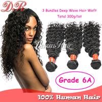 Brazilian Virgin Hair Extension 6A Unprocessed Brazilian Hair Weave Bundles 3PC/Lot Deep Wave Wavy Human Hair Weft Natural Color